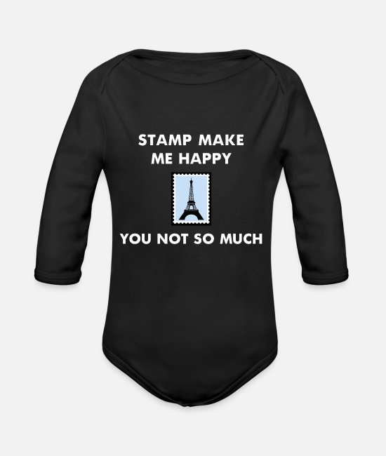 Mail Baby One Pieces - Stamp Collecting Collector Philatelist - Organic Long-Sleeved Baby Bodysuit black