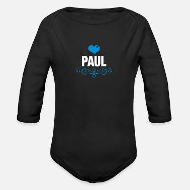 Baby Paul, Love, Hearts, Baby, Boys, Birthday, Gifts - Organic Long-Sleeved Baby Bodysuit