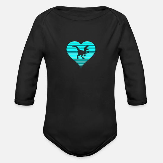 Raptor Baby Clothing - Dinosaur - Organic Long-Sleeved Baby Bodysuit black