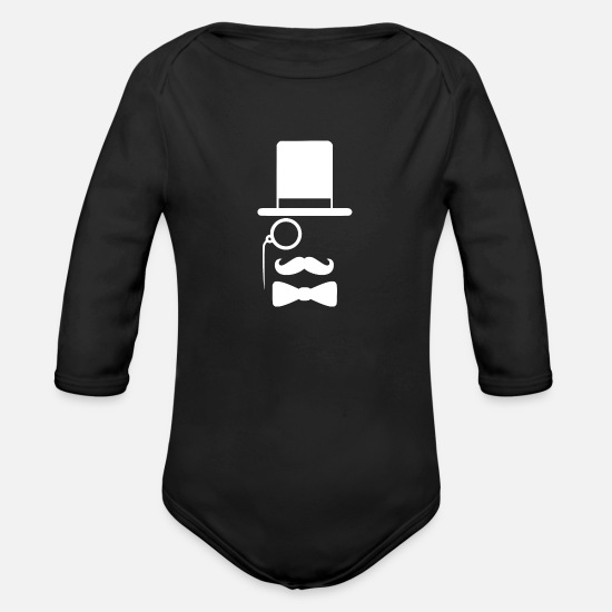 Hard Rock Baby Clothing - Dr. Moustache - Organic Long-Sleeved Baby Bodysuit black