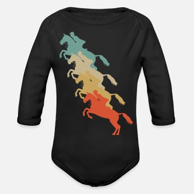 Equitation Retro Vintage Style Harness Racing Equitation - Organic Long-Sleeved Baby Bodysuit