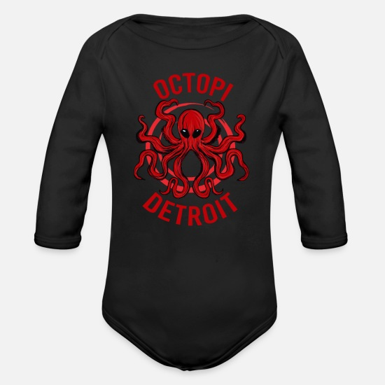 City Baby Clothing - Octopi Detroit Octopus Kraken Tentacles Michigan - Organic Long-Sleeved Baby Bodysuit black