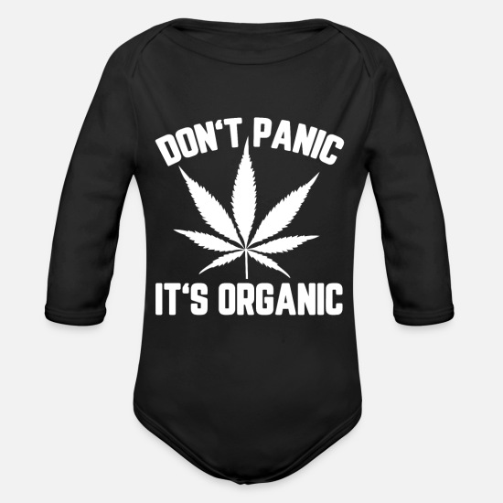 Pothead Baby Clothing - Stay High Stoner Pothead Present - Organic Long-Sleeved Baby Bodysuit black