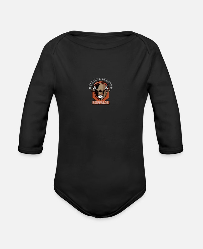 Basketball Player Baby One Pieces - buffalos - Organic Long-Sleeved Baby Bodysuit black