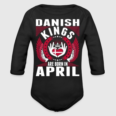 Danish Kings Are Born In April - Organic Long Sleeve Baby Bodysuit