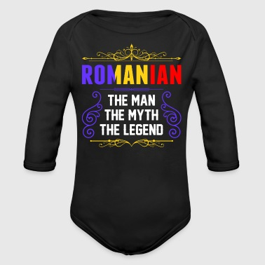 Romanian The Man Myth Legend - Organic Long Sleeve Baby Bodysuit