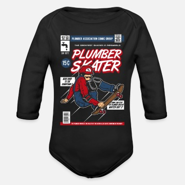 Comic Book Comic Book Cover Skater - Organic Long Sleeve Baby Bodysuit