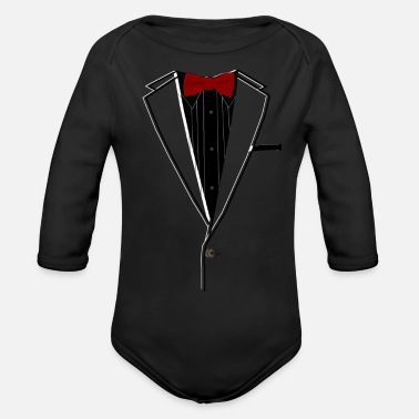 Tuxedo Red Bowtie - Organic Long-Sleeved Baby Bodysuit