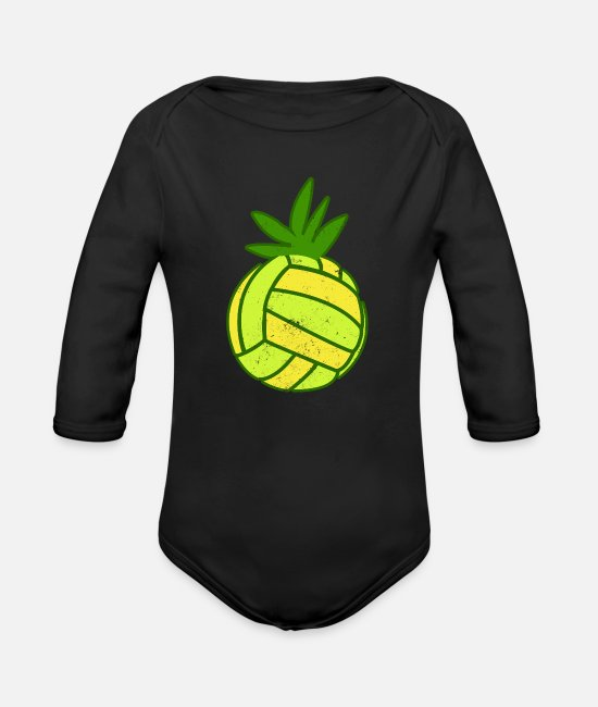 GawkClothing Baby One Pieces - Game Day Volleyball Pineapple Gift - Organic Long-Sleeved Baby Bodysuit black
