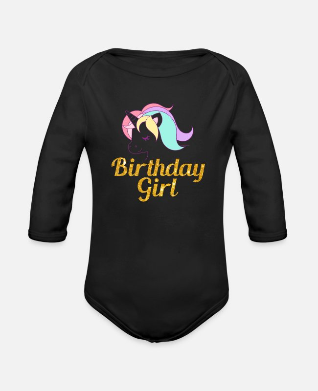 60th Birthday Baby One Pieces - birthday girl - Organic Long-Sleeved Baby Bodysuit black