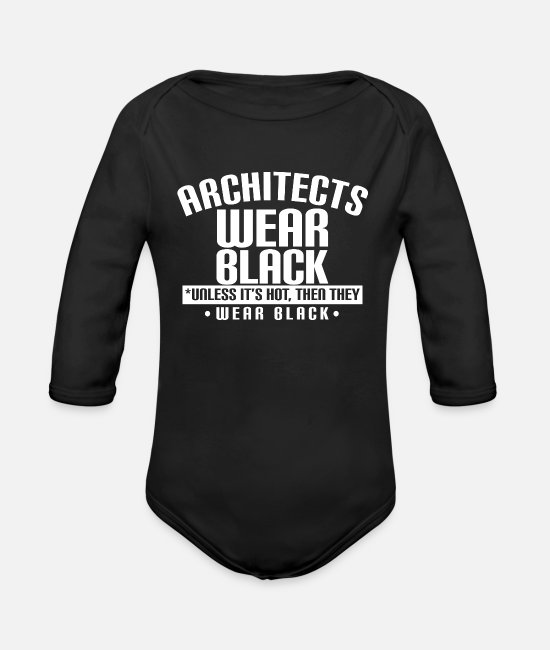 Architect Baby One Pieces - architect wear black - Organic Long-Sleeved Baby Bodysuit black