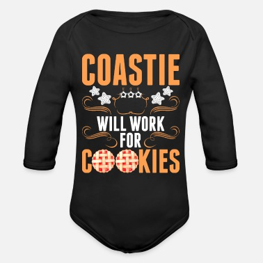 Coastie Coastie Will Work For Cookies Tshirt - Organic Long-Sleeved Baby Bodysuit