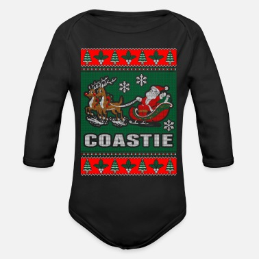 Coastie Coastie Ugly Christmas Sweater - Organic Long-Sleeved Baby Bodysuit
