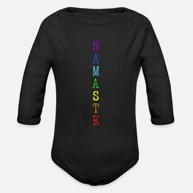Namaste slogan Yoga colorful Chakra - Organic Long-Sleeved Baby Bodysuit