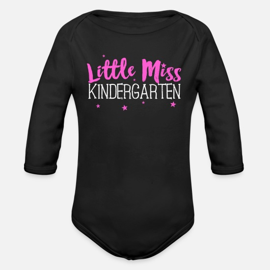 School Baby Clothing - Little Miss Kindergarten Shirt Back to School - Organic Long-Sleeved Baby Bodysuit black