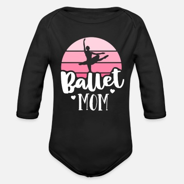 Retro Ballet Mom Pink Ballerina Shirt Vintage - Organic Long-Sleeved Baby Bodysuit