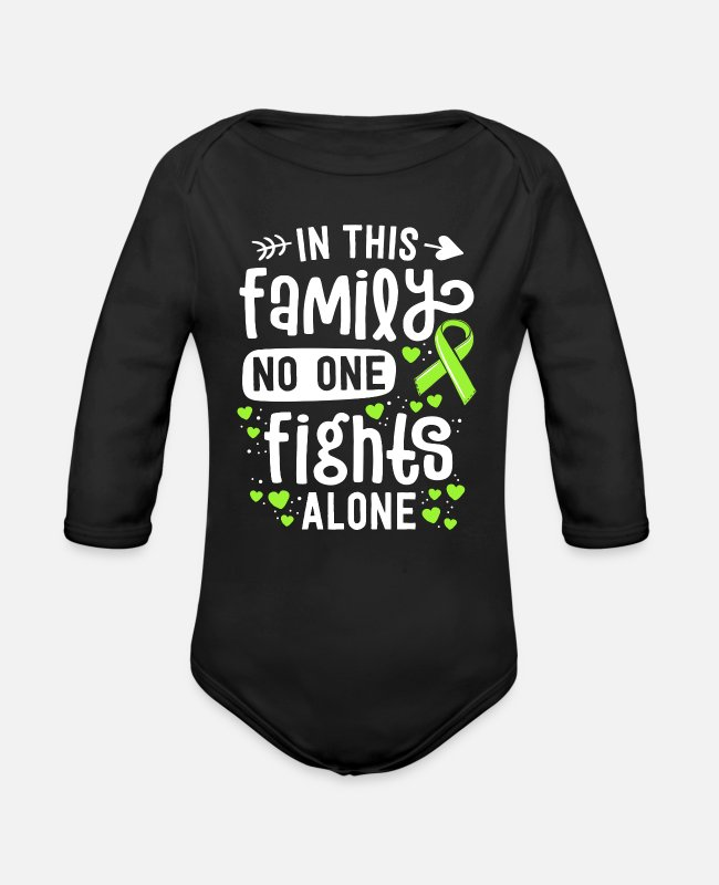 Warrior Baby One Pieces - Lyme Disease Awareness In This Family No One - Organic Long-Sleeved Baby Bodysuit black
