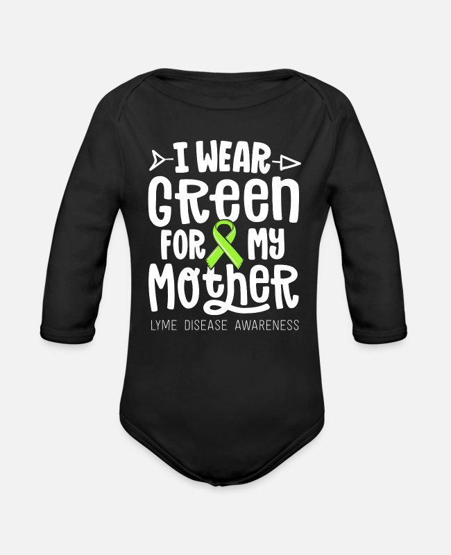 For My Mother Baby One Pieces - I Wear Green For My Mother Lyme Disease Awareness - Organic Long-Sleeved Baby Bodysuit black