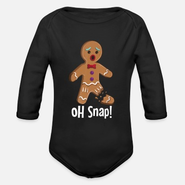 Christmas Gingerbread Man - Oh Snap Funny Cute Christmas - Organic Long-Sleeved Baby Bodysuit