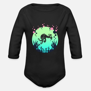 Octopus Diver Divers Tshirt deep sea octopus diver gift - Organic Long-Sleeved Baby Bodysuit