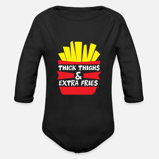 Thick Baby Clothing - thick thighs and extra fries - funny french fries - Organic Long-Sleeved Baby Bodysuit black