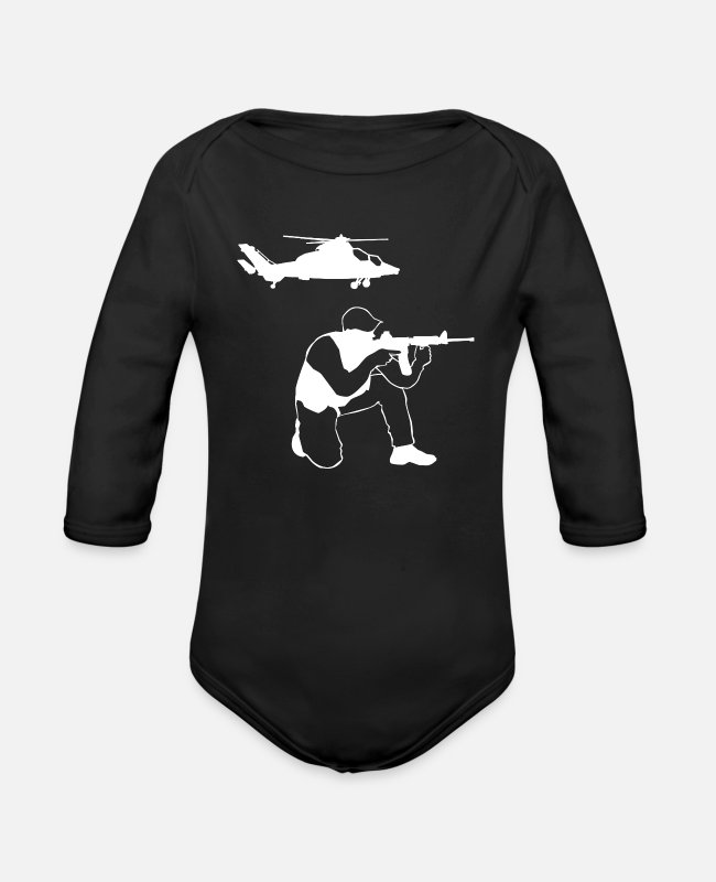 Usa Baby One Pieces - US Military American Soldier 4th July Veteran Gift - Organic Long-Sleeved Baby Bodysuit black