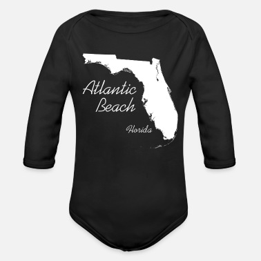 Florida Beach Atlantic Beach, Florida - FL, White - Organic Long-Sleeved Baby Bodysuit