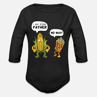Laugh I Am Your Father Popcorn - Organic Long-Sleeved Baby Bodysuit