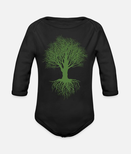 Trees Baby One Pieces - Tree - Organic Long-Sleeved Baby Bodysuit black