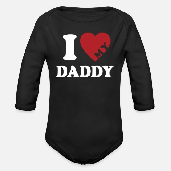 Father's Day Baby Clothing - Fathers Day - Organic Long-Sleeved Baby Bodysuit black