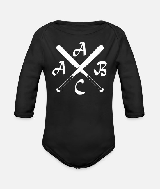 School Beginner Baby One Pieces - ACAB Kreuz Hipster Baseball Kult Old School Hoolig - Organic Long-Sleeved Baby Bodysuit black