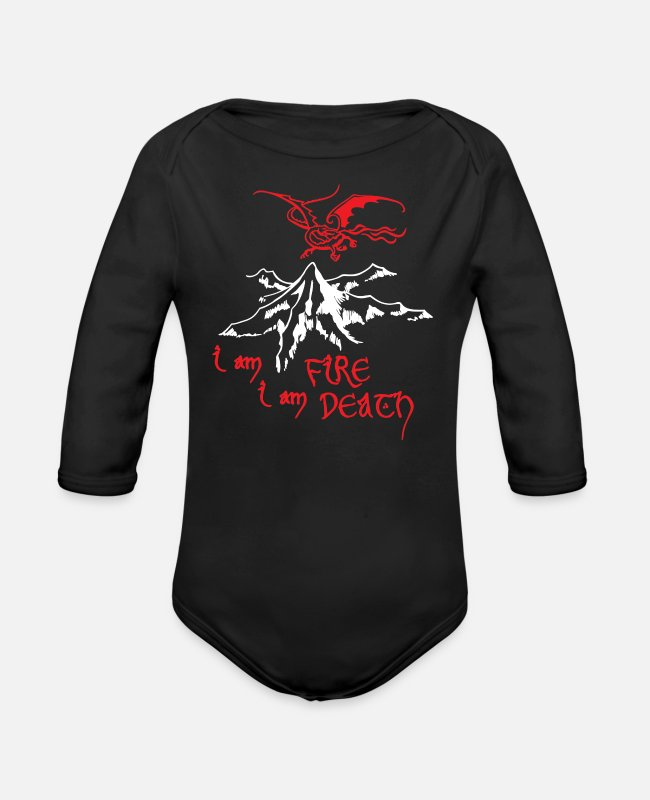 Mood Baby One Pieces - Fire and Death - Organic Long-Sleeved Baby Bodysuit black