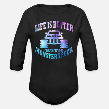 Monster Monster Truck - Organic Long Sleeve Baby Bodysuit