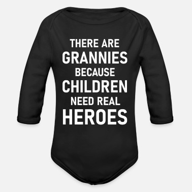 Granny is a real hero - Organic Long-Sleeved Baby Bodysuit