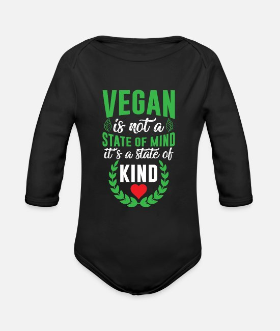 Animal Liberation Baby One Pieces - Vegan is not a state of mind it's a state of KIND - Organic Long-Sleeved Baby Bodysuit black