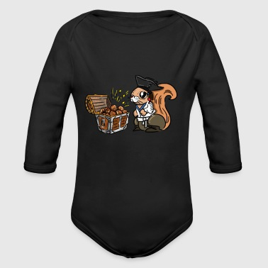 Funny squirrel. Squirrel's Treasure. Chest of nuts - Long Sleeve Baby Bodysuit