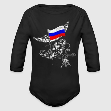 Astronaut moon Russia explores space flag - Long Sleeve Baby Bodysuit