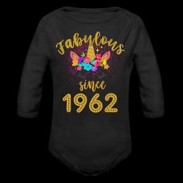 Fabulous Unicorn Birthday Shirt Old BDay Since 1962 funny shirts gifts - Long Sleeve Baby Bodysuit