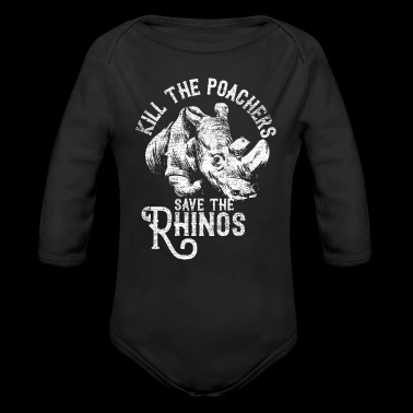 Kill the poachers not the rhinos - Long Sleeve Baby Bodysuit
