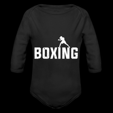 Boxing font with box animation gift martial arts - Long Sleeve Baby Bodysuit