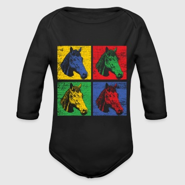 Horse pop art - Organic Long Sleeve Baby Bodysuit