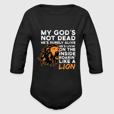 Proud Christian Saying Gift Shirt Lion Men Women - Organic Long Sleeve Baby Bodysuit