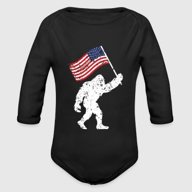 Bigfoot 4th Of July Shirts Flag Patriotic USA - Organic Long Sleeve Baby Bodysuit