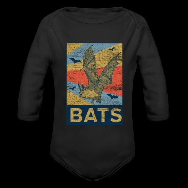 Bats rectangle color - Organic Long Sleeve Baby Bodysuit