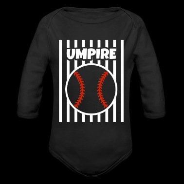 Umpire Baseball Beisbol Ball Gear Outfit Shirt Tshirt white RED STRIPES - Organic Long Sleeve Baby Bodysuit