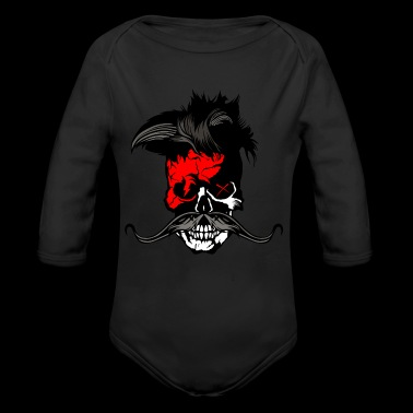 skull hipster punk mustache mustache flash - Long Sleeve Baby Bodysuit