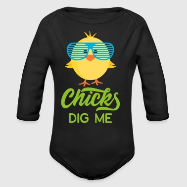 Chicks Dig Me Happy Easter 80s Retro Sunglasses - Long Sleeve Baby Bodysuit
