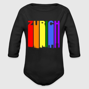 Zurich Switzerland Skyline Rainbow LGBT Gay Pride - Long Sleeve Baby Bodysuit