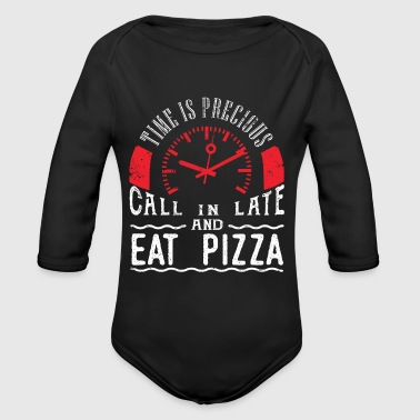 Eat Pizza Italian Thin Crust Pizza Lover Party Call In Late - Long Sleeve Baby Bodysuit