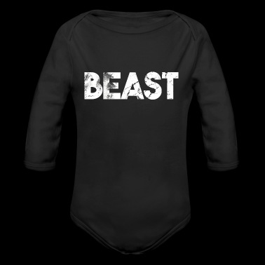 Beast lettering grizzly bear gift idea - Organic Long Sleeve Baby Bodysuit